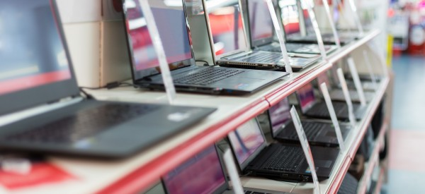 sale of laptops in store