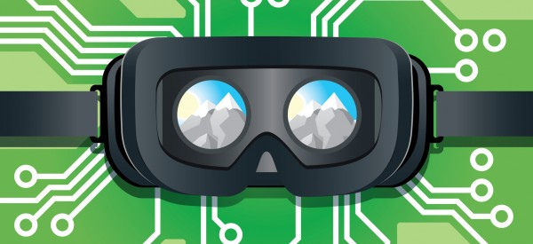 Inside of Virtual Reality Headset Showing Mountains and Circuit Board Connection Background